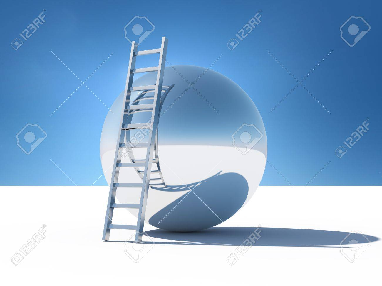Ladder over the abstract world of the sky Stock Photo - 10148235