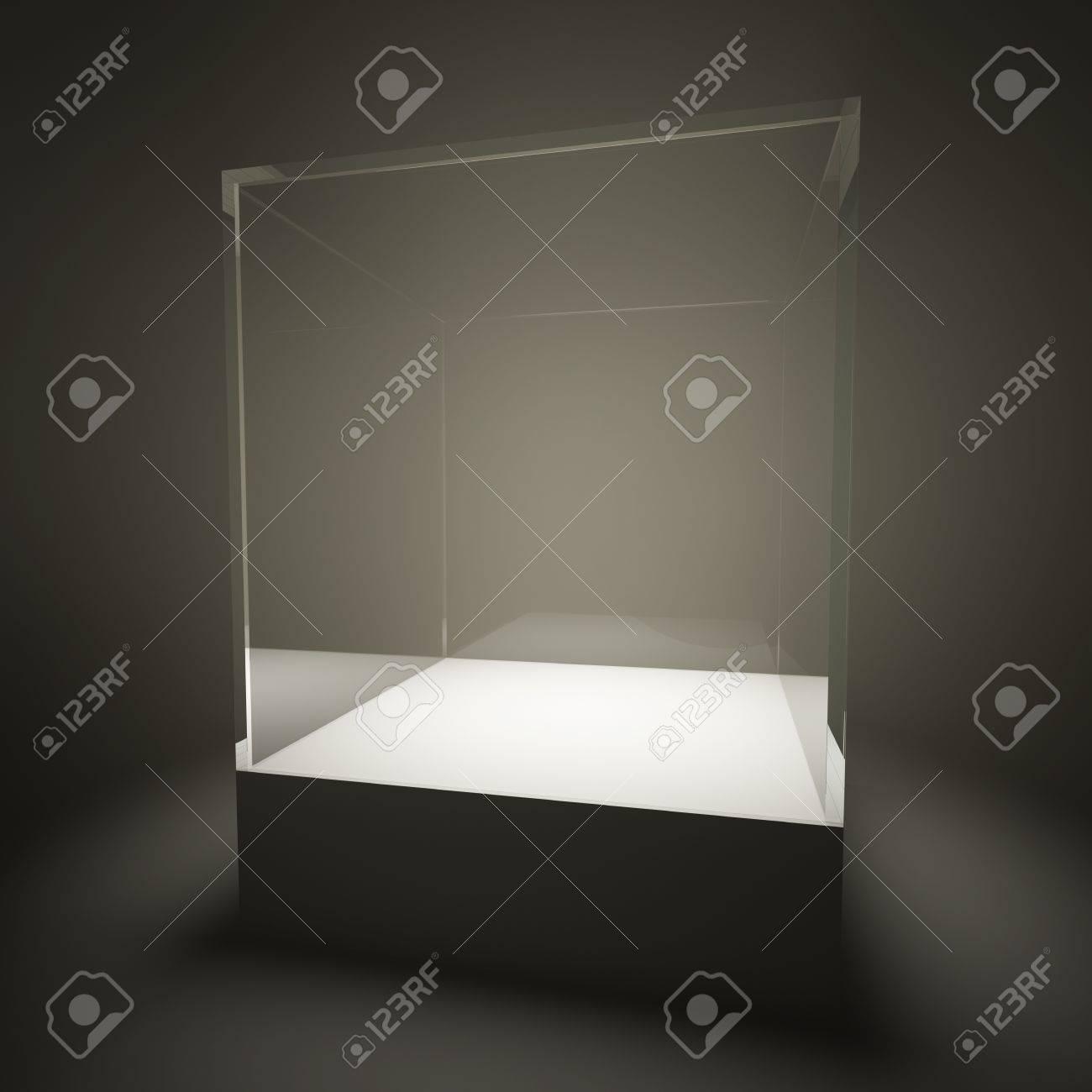 Illuminated empty glass showcase in room Stock Photo - 10854298