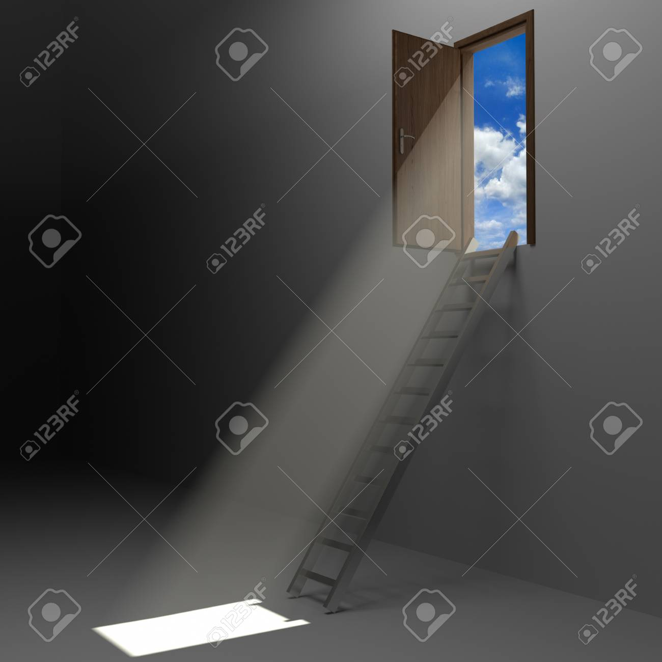 Ladder leading up to the light Stock Photo - 11768309