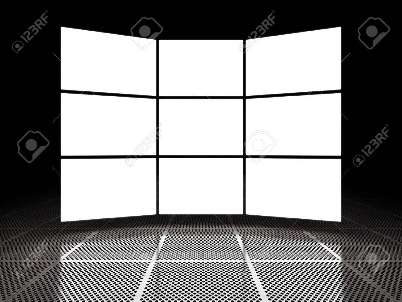 Empty light screen displays around black space Stock Photo - 12389154