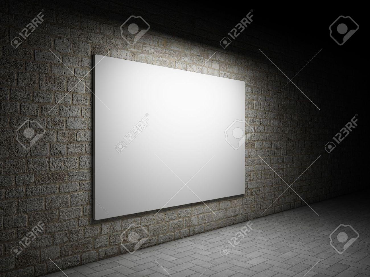 Blank advertising billboard on a brick wall at night Stock Photo - 12878915