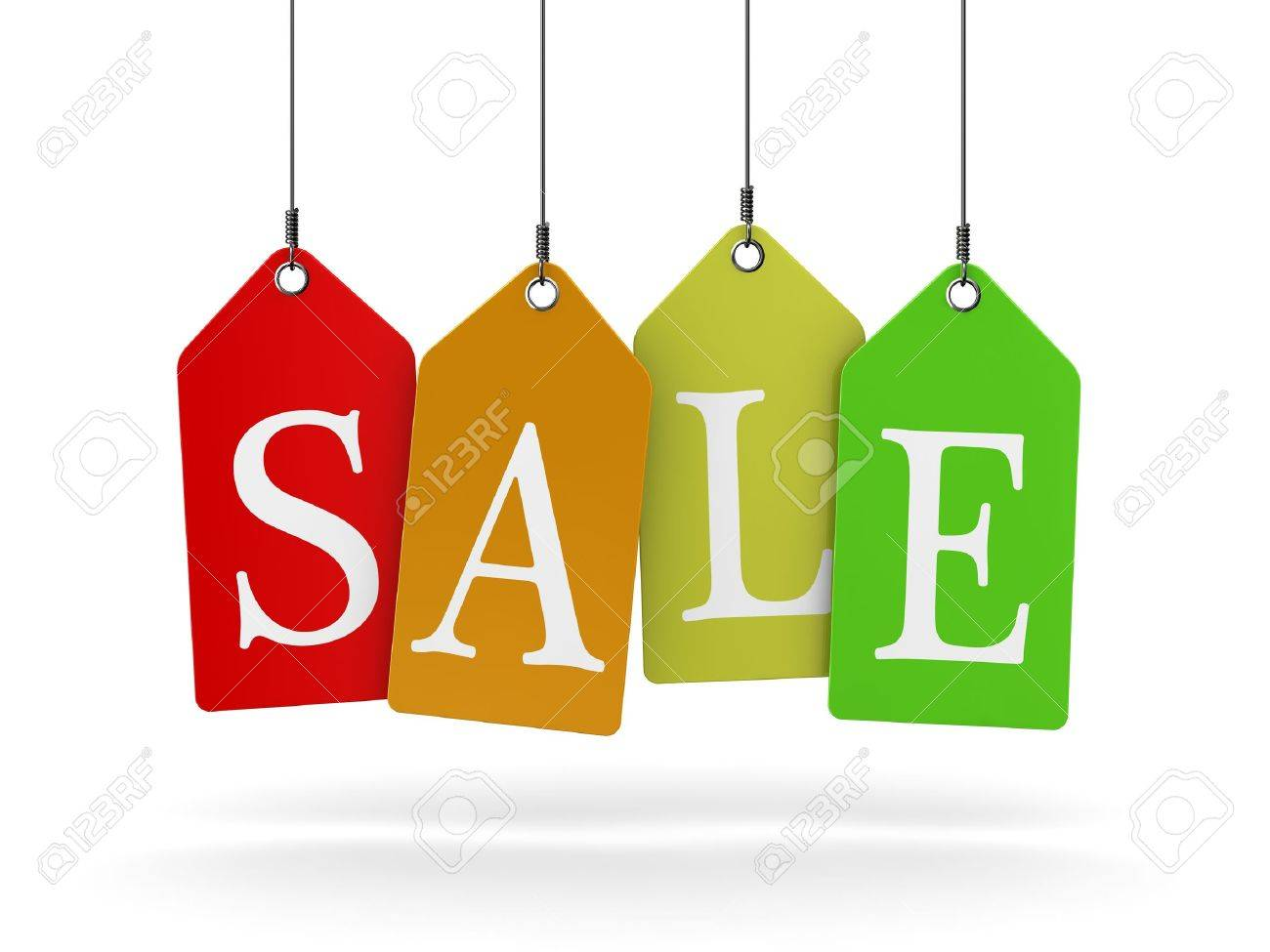 Colorful sale tags hanging Stock Photo - 12878767