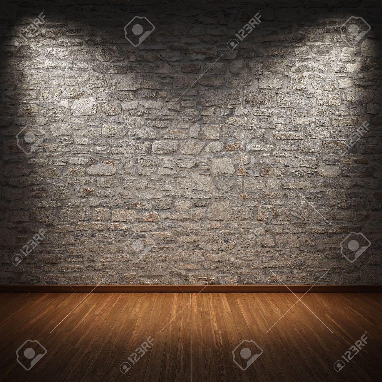 habitacin interior con muro de piedra y piso de madera foto de archivo