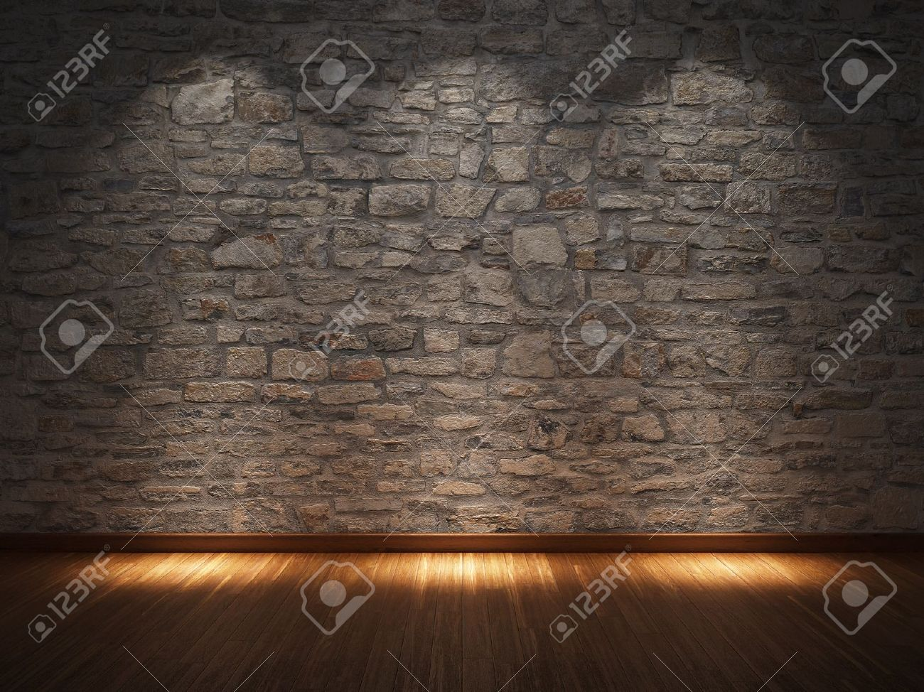 Interior Stone Wall interior room with stone wall and wooden floor stock photo