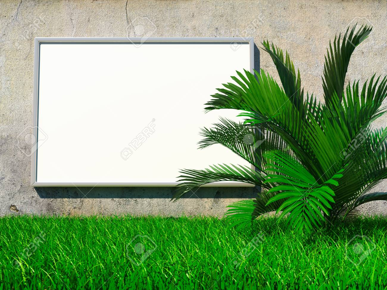 Blank advertising billboard on grunge wall with palm on grass Stock Photo - 14470186