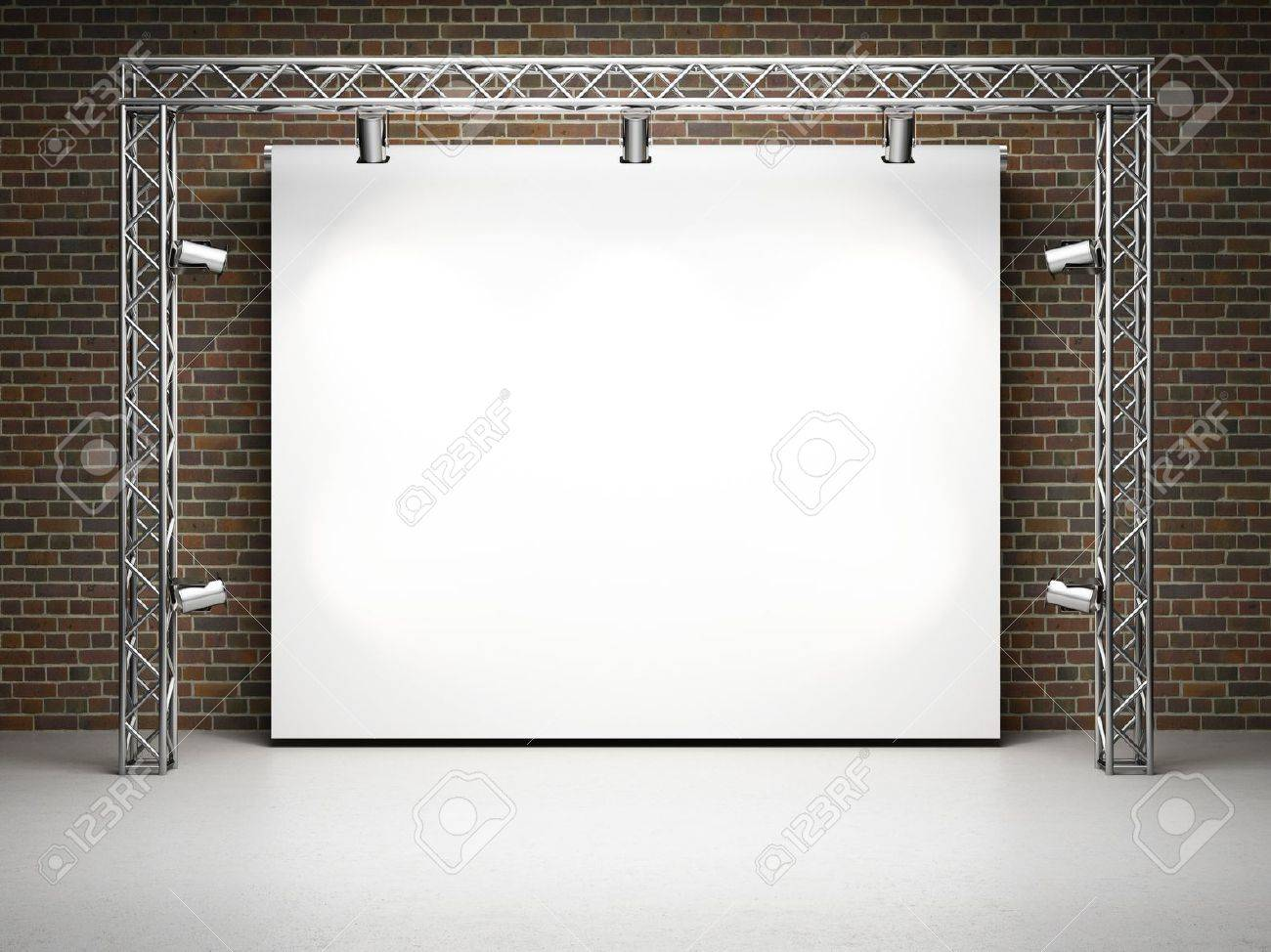 Blank trade exhibition stand with screen and spot lights on brick wall - 14470175