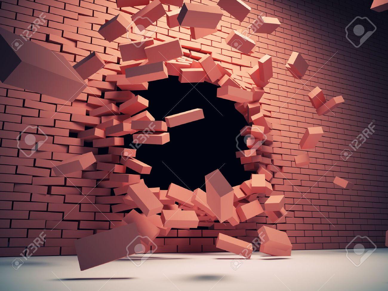 Destruction of brick wall Stock Photo - 16430760