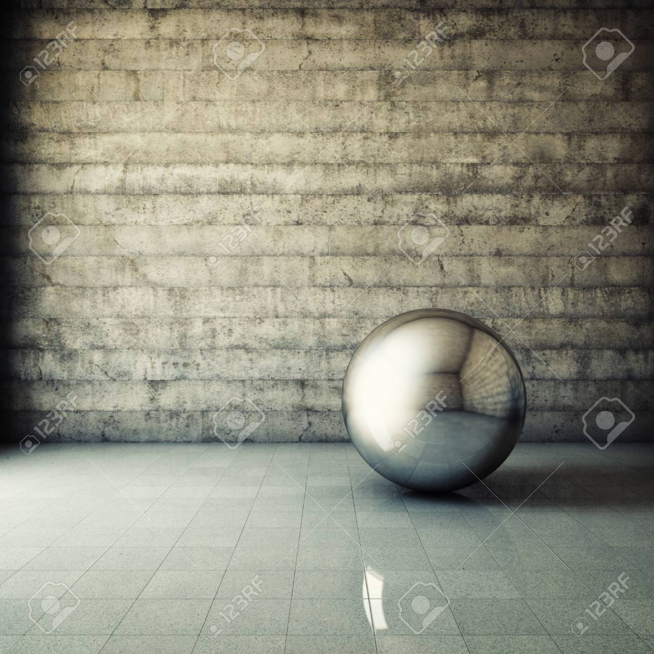 Abstract grunge interior with metallic ball Stock Photo - 16430802