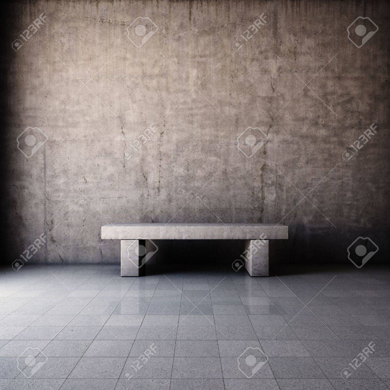 Abstract grunge interior with concrete bench Stock Photo - 16430830