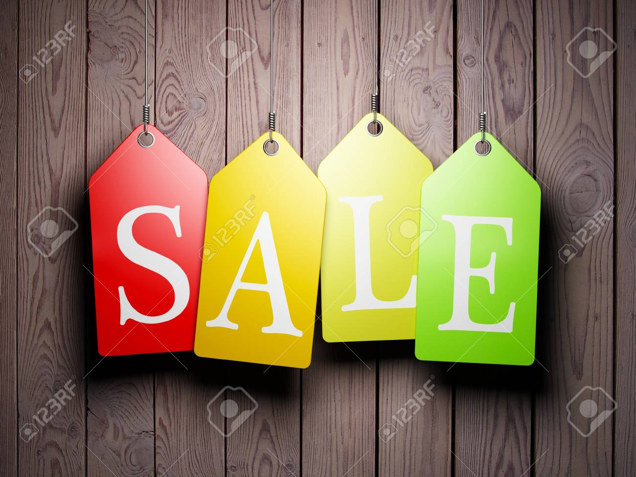 Colorful sale tags hanging on wooden background Stock Photo - 16752209