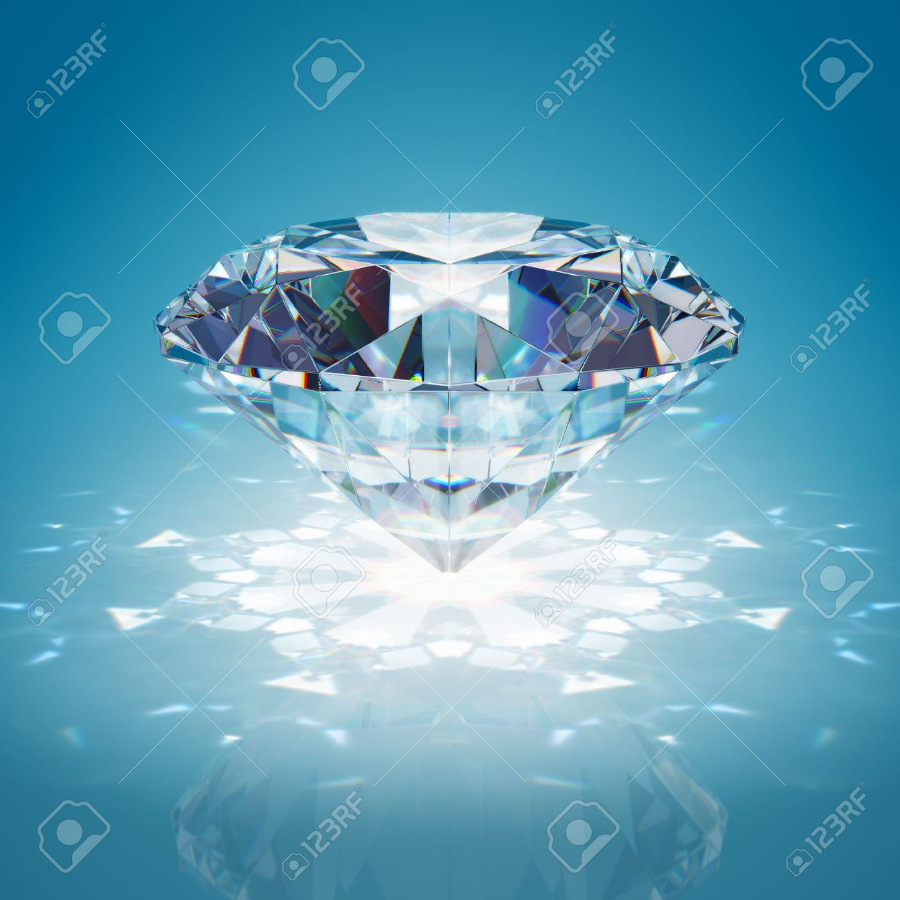 Brilliant diamond on blue background Stock Photo - 17588823