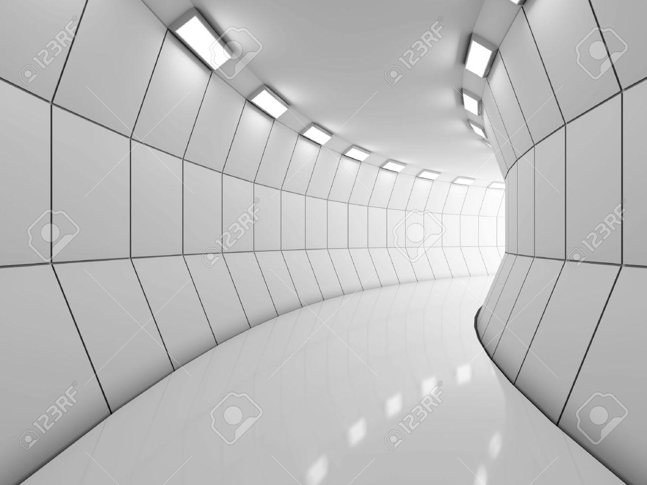 Modern illuminated long corridor Stock Photo - 18708222
