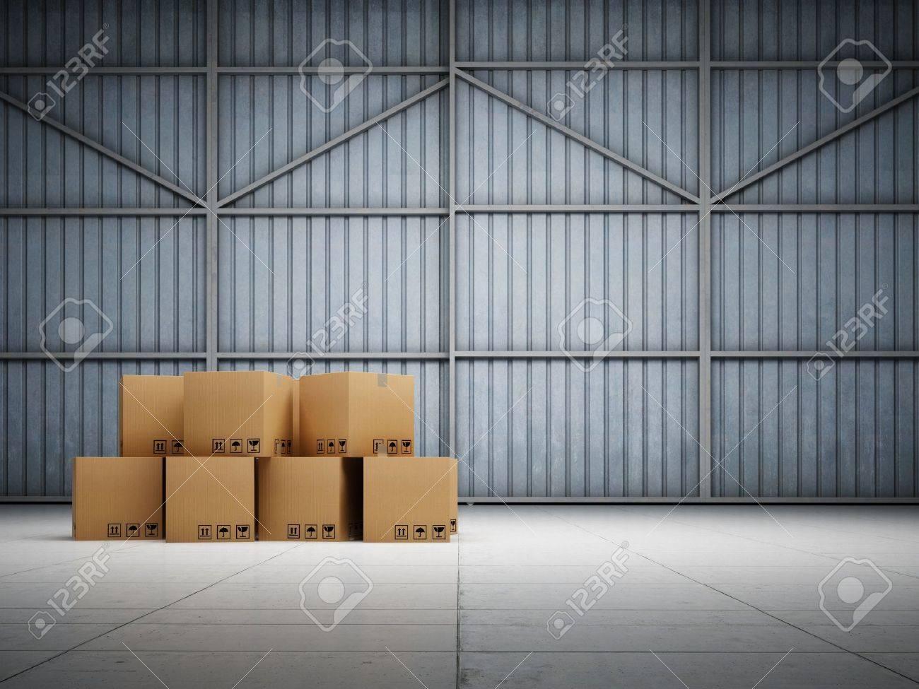 Large trucking warehouse with cargo Stock Photo - 18708250