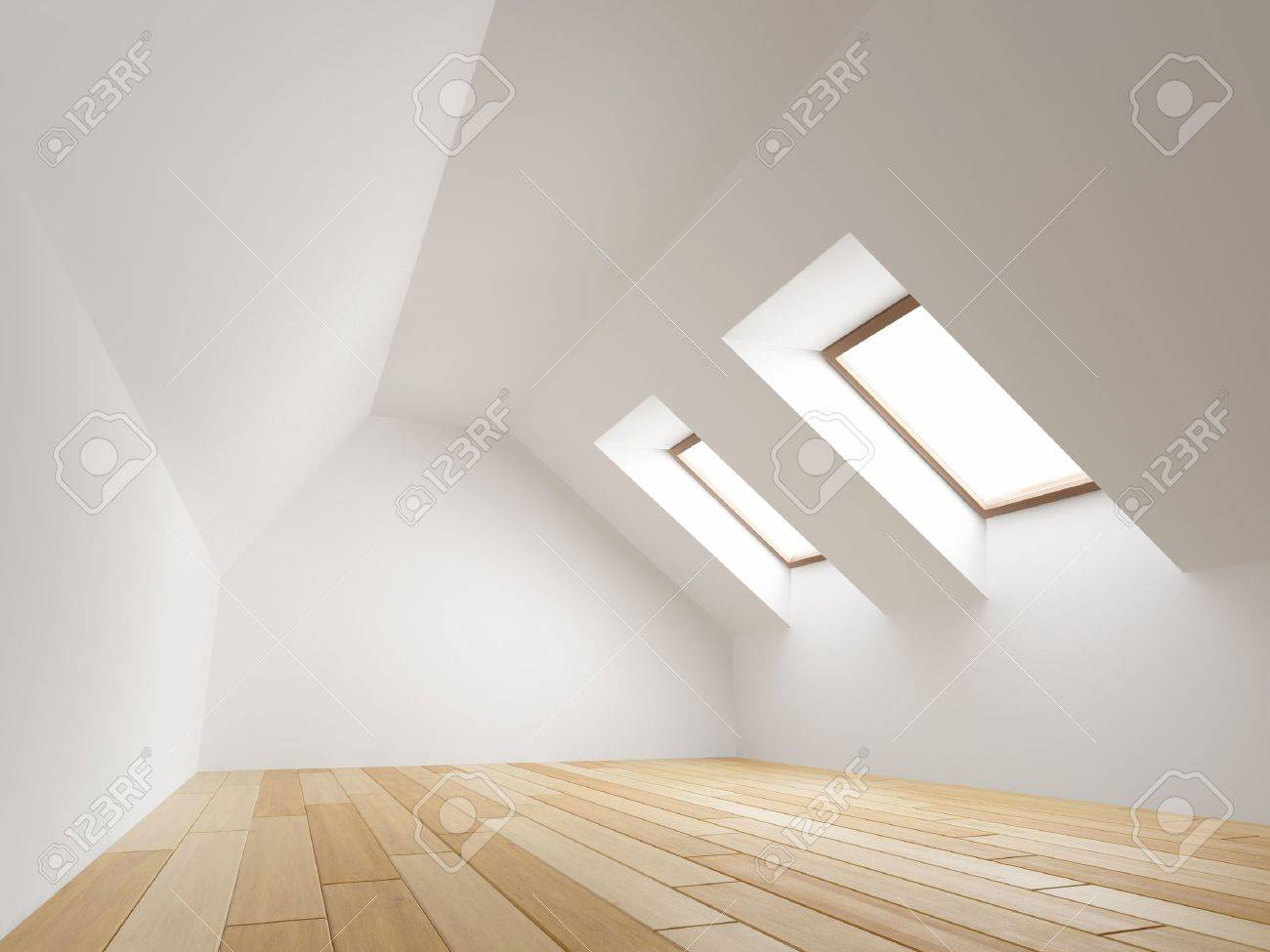 Empty new room with mansard windows Stock Photo - 18708245