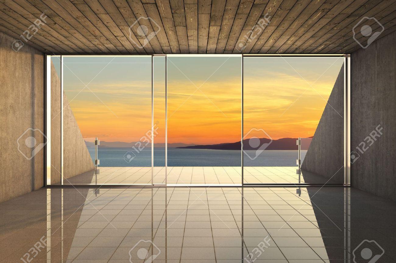 Vider Salon Moderne Avec Une Grande Baie Vitrée Et Vue Sur La Mer ...