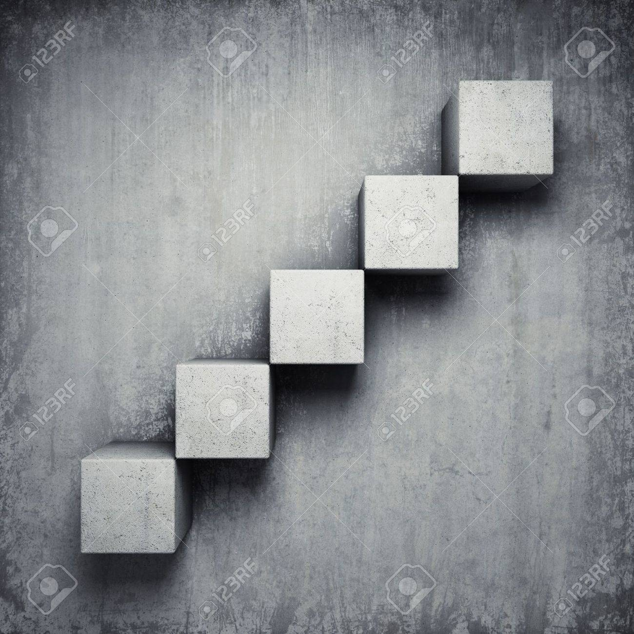 Abstract concrete staircase made of cubes Stock Photo - 19867133