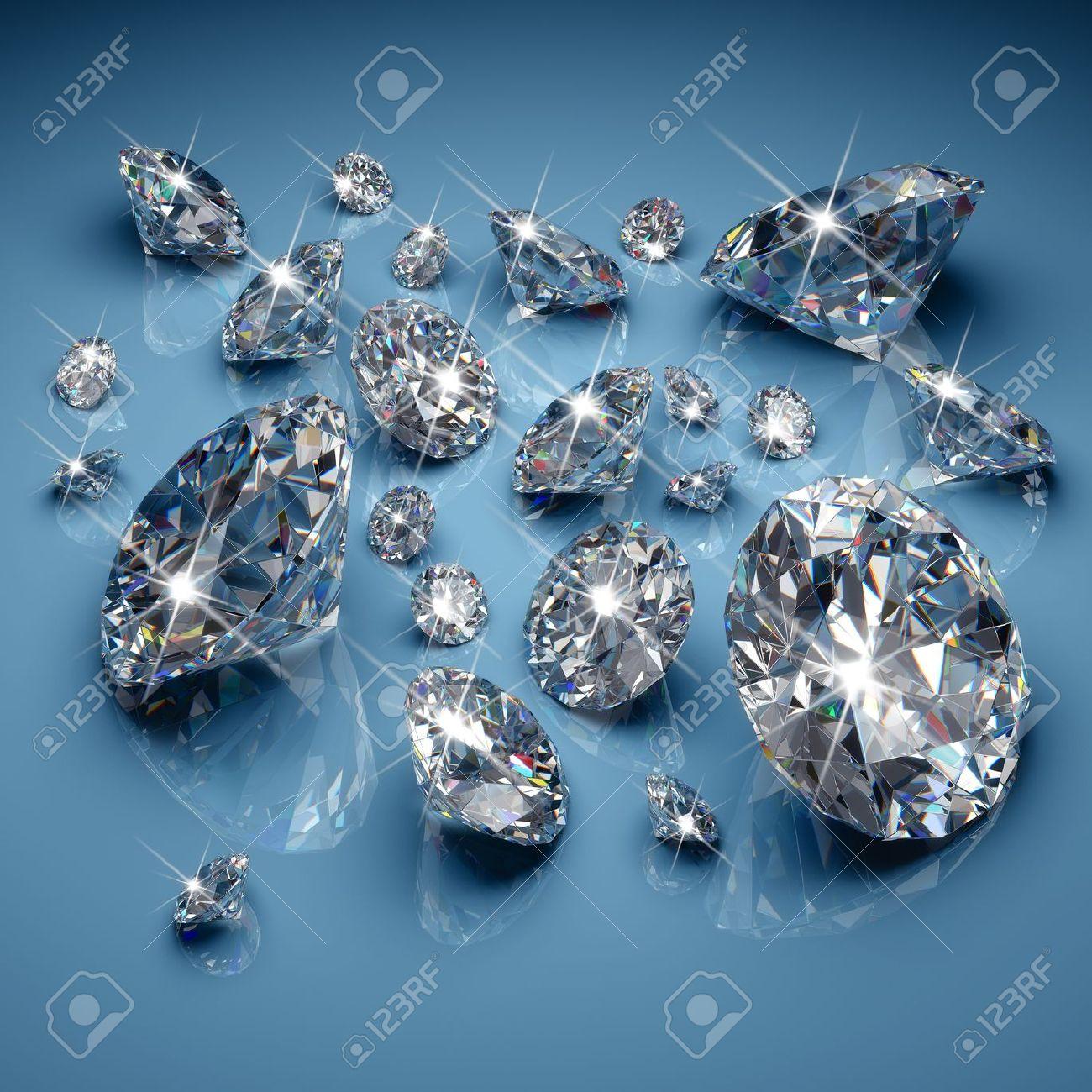 Brilliant diamonds on blue background - 19867136