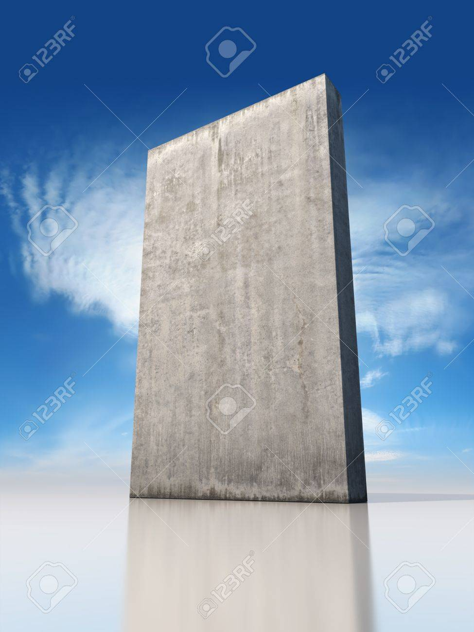 Abstract monolithic concrete slab is on the sky background Stock Photo - 19867137