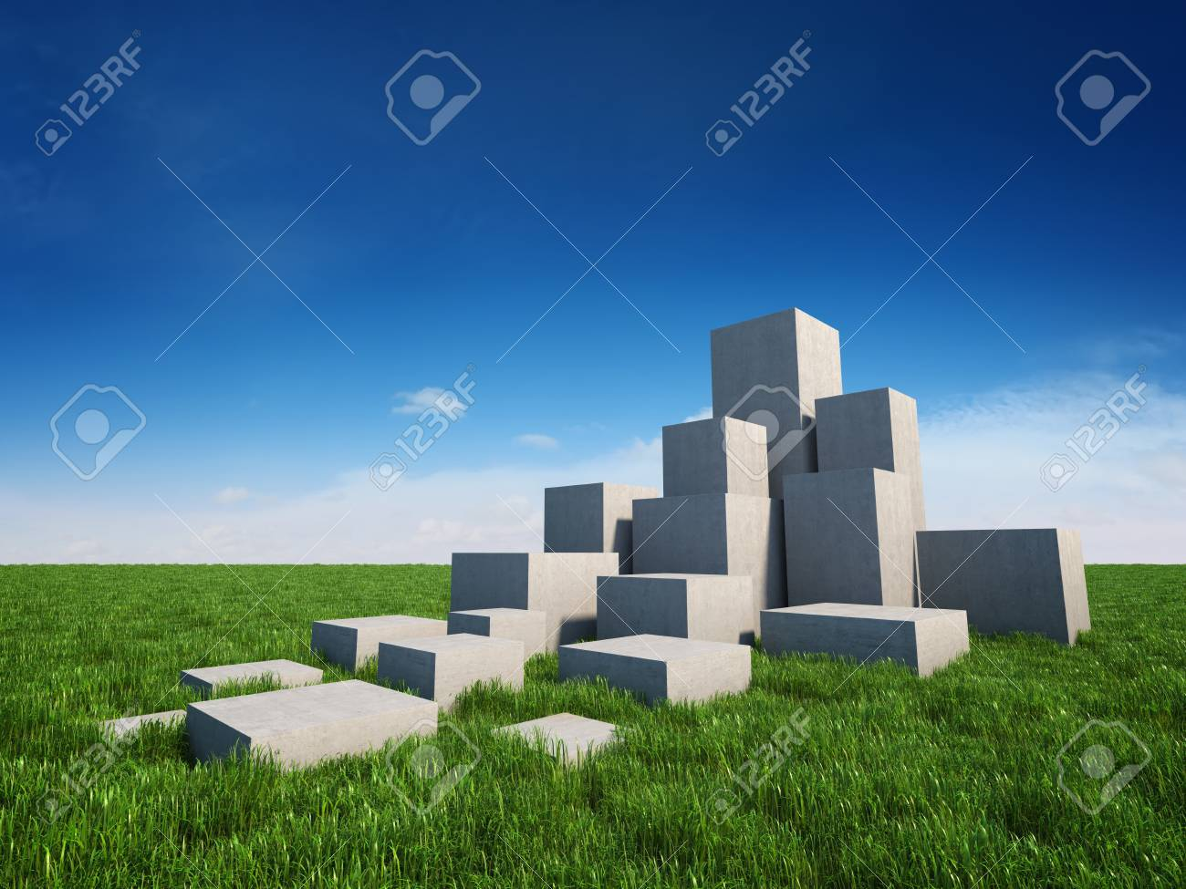 Abstract stairs of concrete cubes on field with grass and sky Stock Photo - 19867128