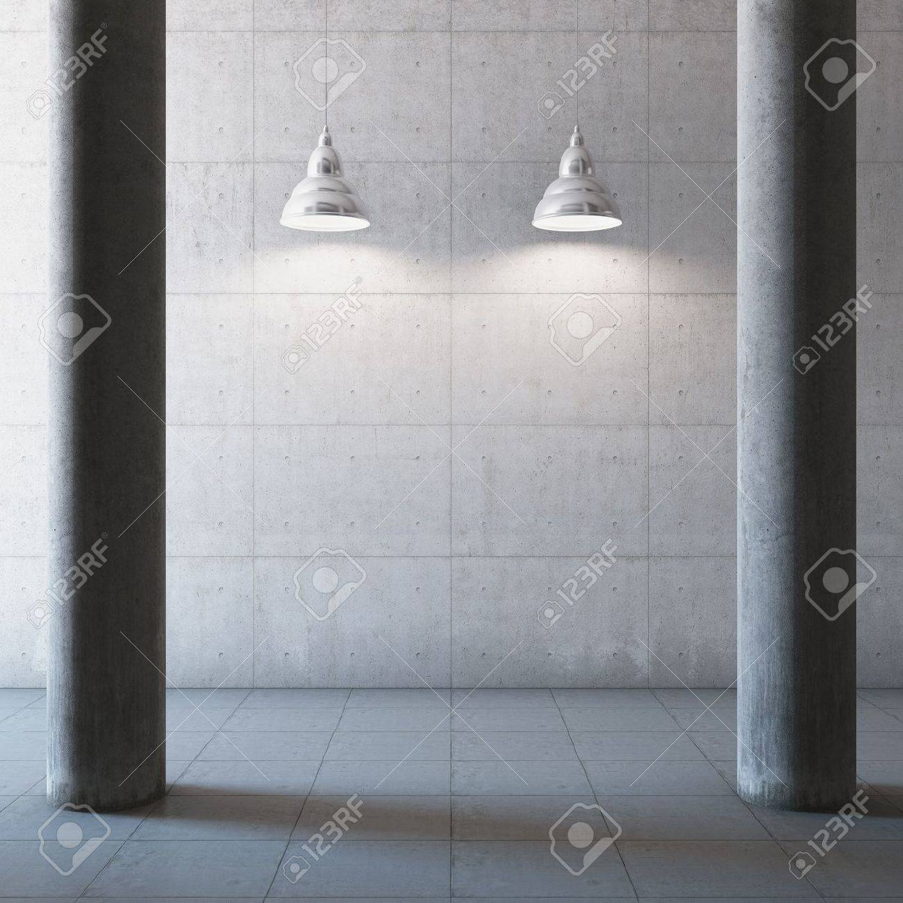 Empty large concrete hall with columns and illumination lamp Stock Photo - 21026056