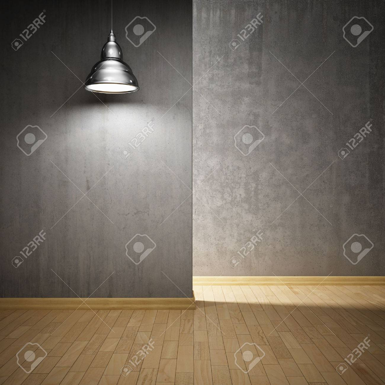 Interior hall with concrete walls and lamp Stock Photo - 23182060