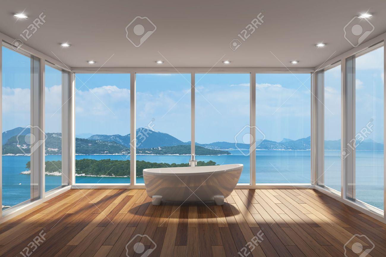 Carrelage Salle De Bain Limoges ~ Salle De Bains Moderne Avec Une Grande Baie Vitr E Et Vue Sur La Mer