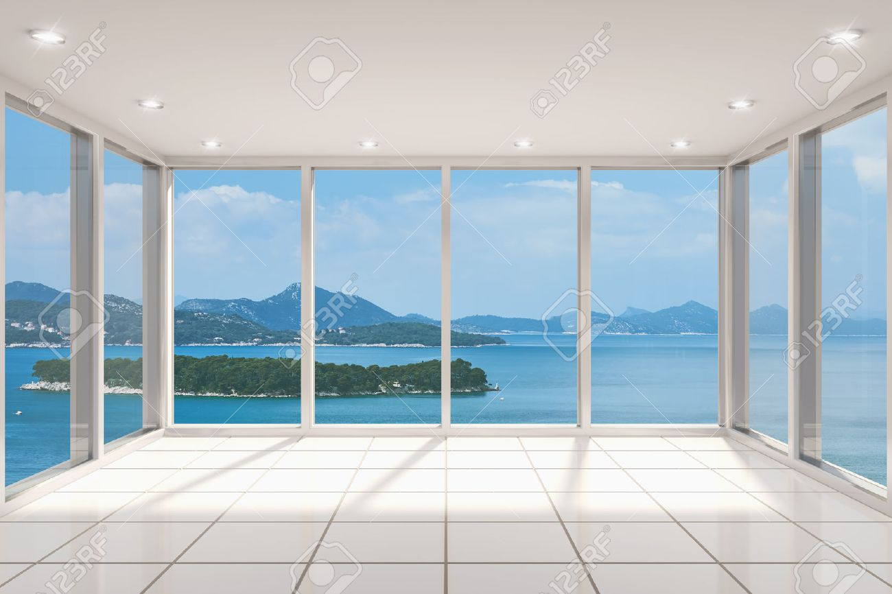 Empty living room with large windows can be as background stock - Empty Modern Lounge Area With Large Bay Window And View Of Sea Stock Photo 25881793