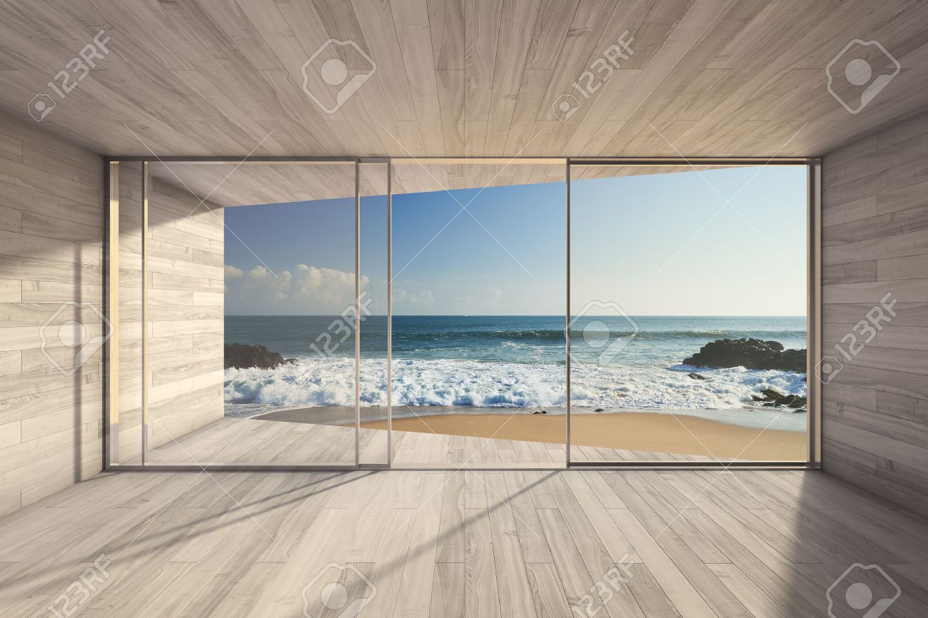 Empty Modern Lounge Area With Large Bay Window And View Of Sea Stock ...