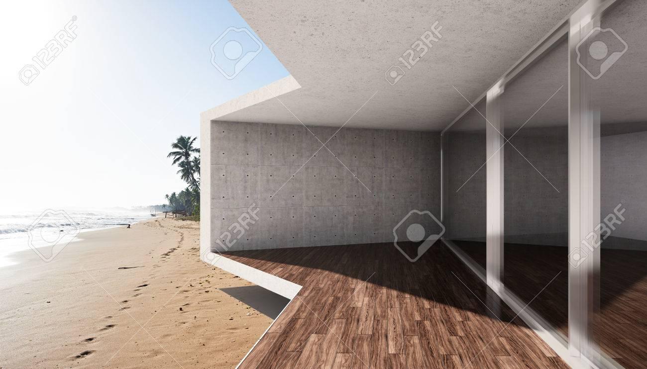 Exceptionnel Terrasse Moderne Avec Une Grande Baie Vitrée Et Vue Sur La Mer  FQ65