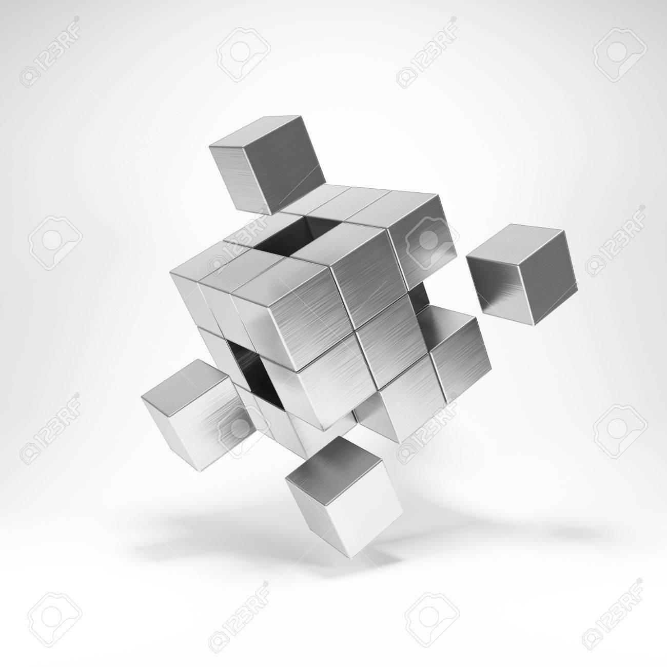 Cubo Di Metallo.Cubo Di Metallo Con Elementi Chiave Illustrazione 3d