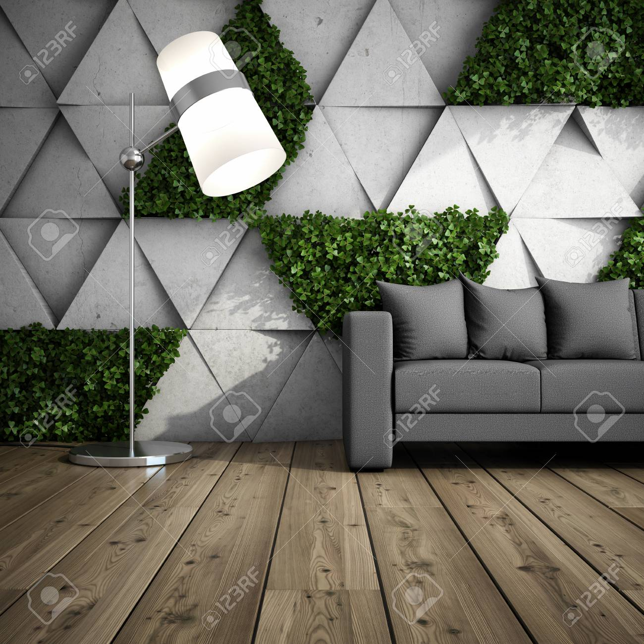 Lounge Zone In Modern Interior With Concrete Wall Of Blocks And ...