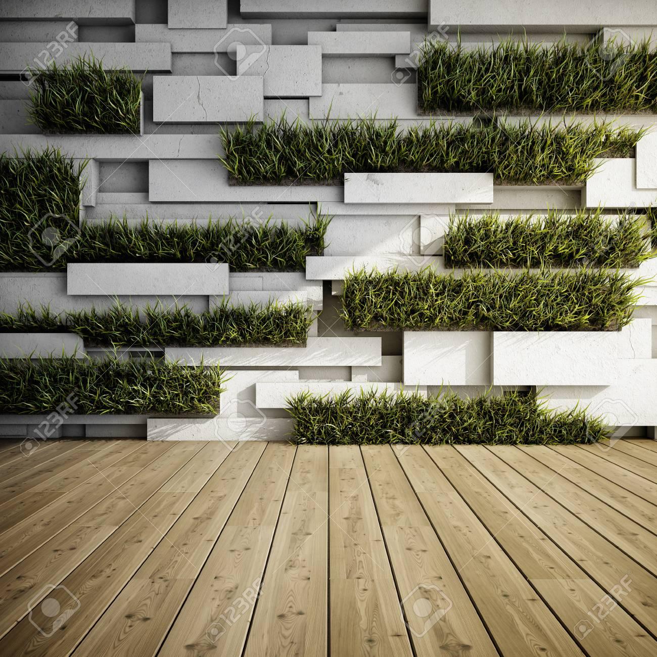 Interior De Muro De Hormigón Decorativo Con Jardines Verticales Ilustración 3d