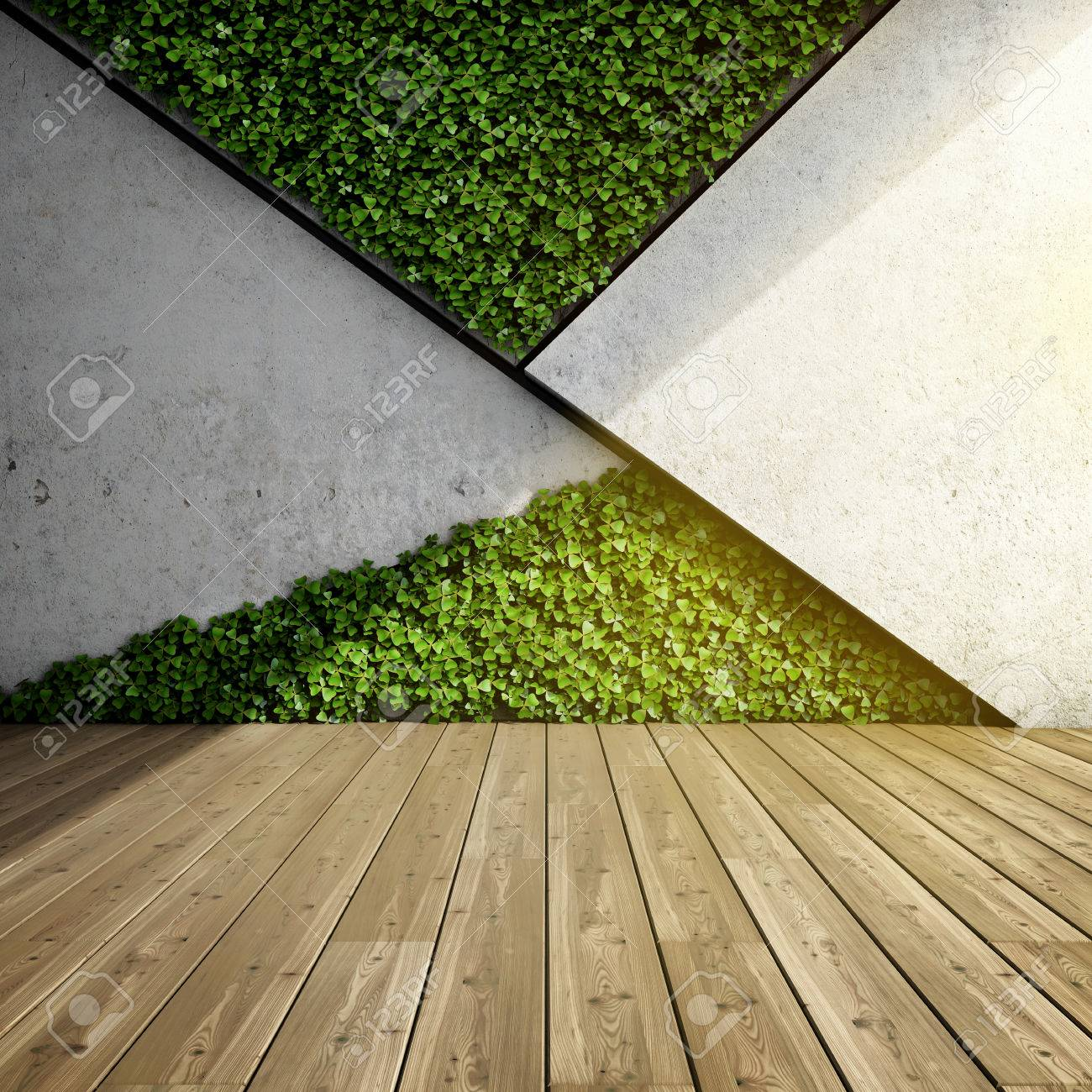 Wall In Modern Interior With Concrete Blocks And Vertical Garden ...