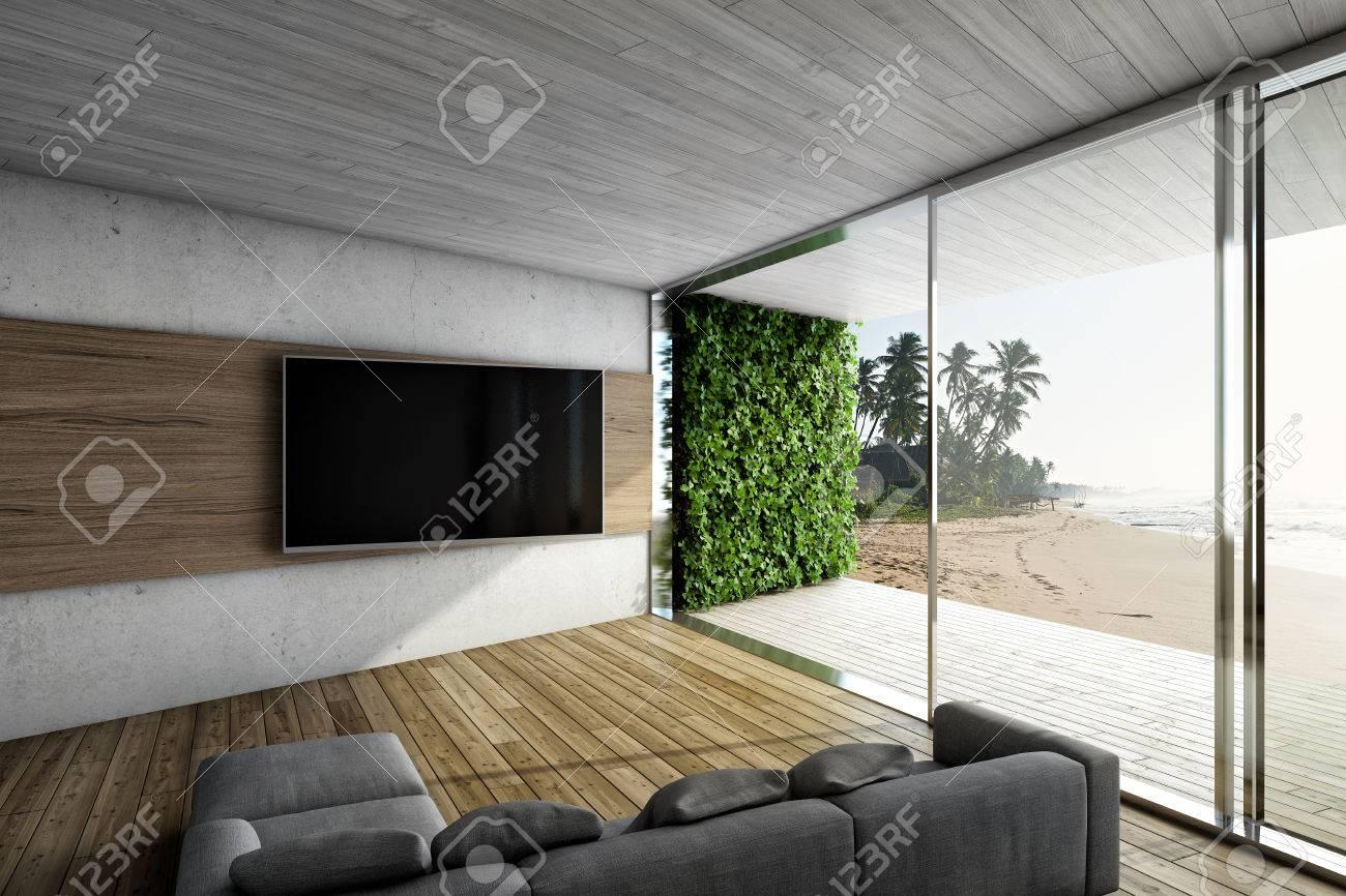 Wohnzimmer Mit Sofa Und TV. Große Fenster Mit Terrasse Und Meerblick ...