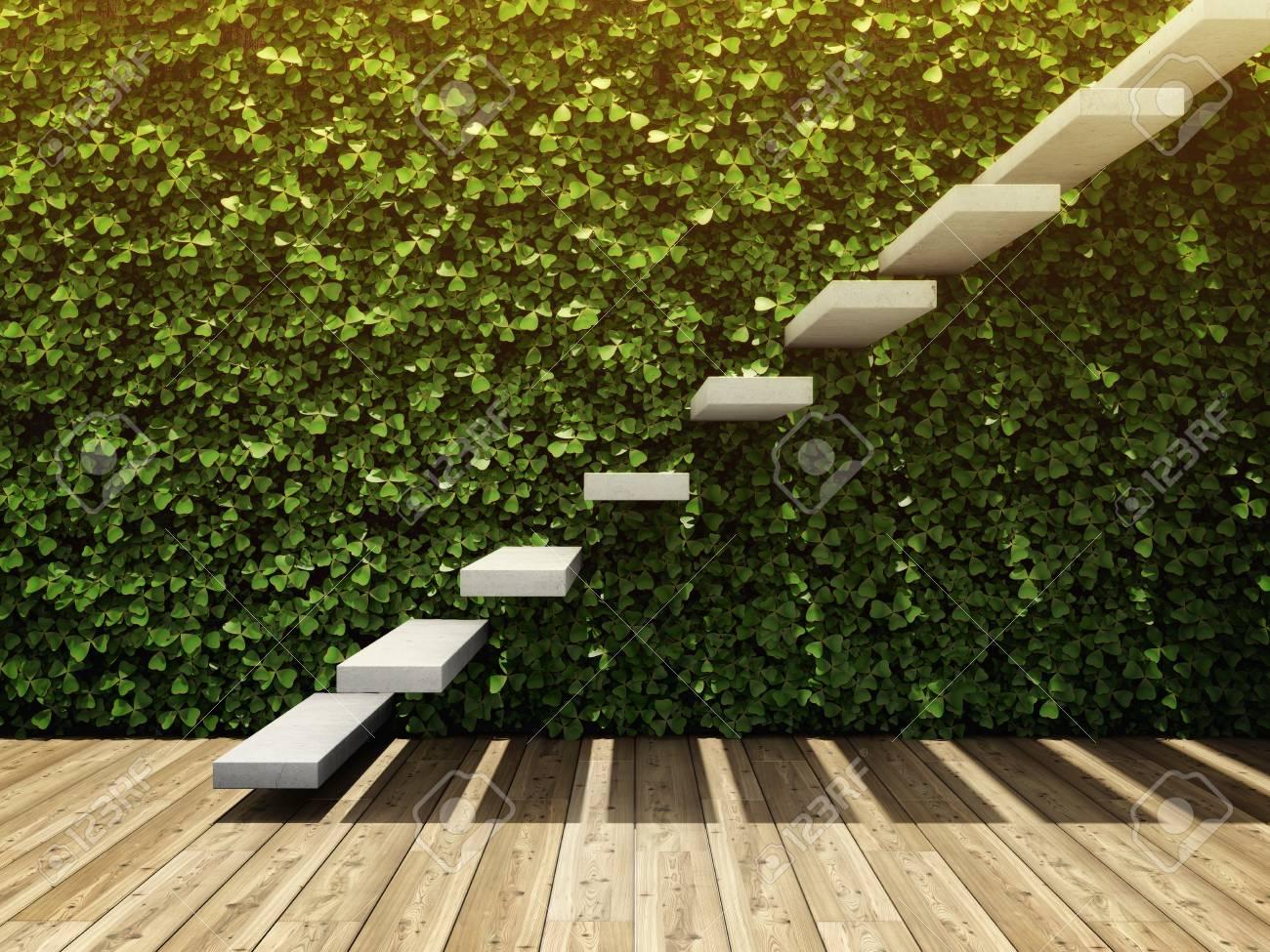 L\'intérieur de la pièce avec le mur du jardin vertical et l\'escalier des  blocs de béton. Illustration 3D