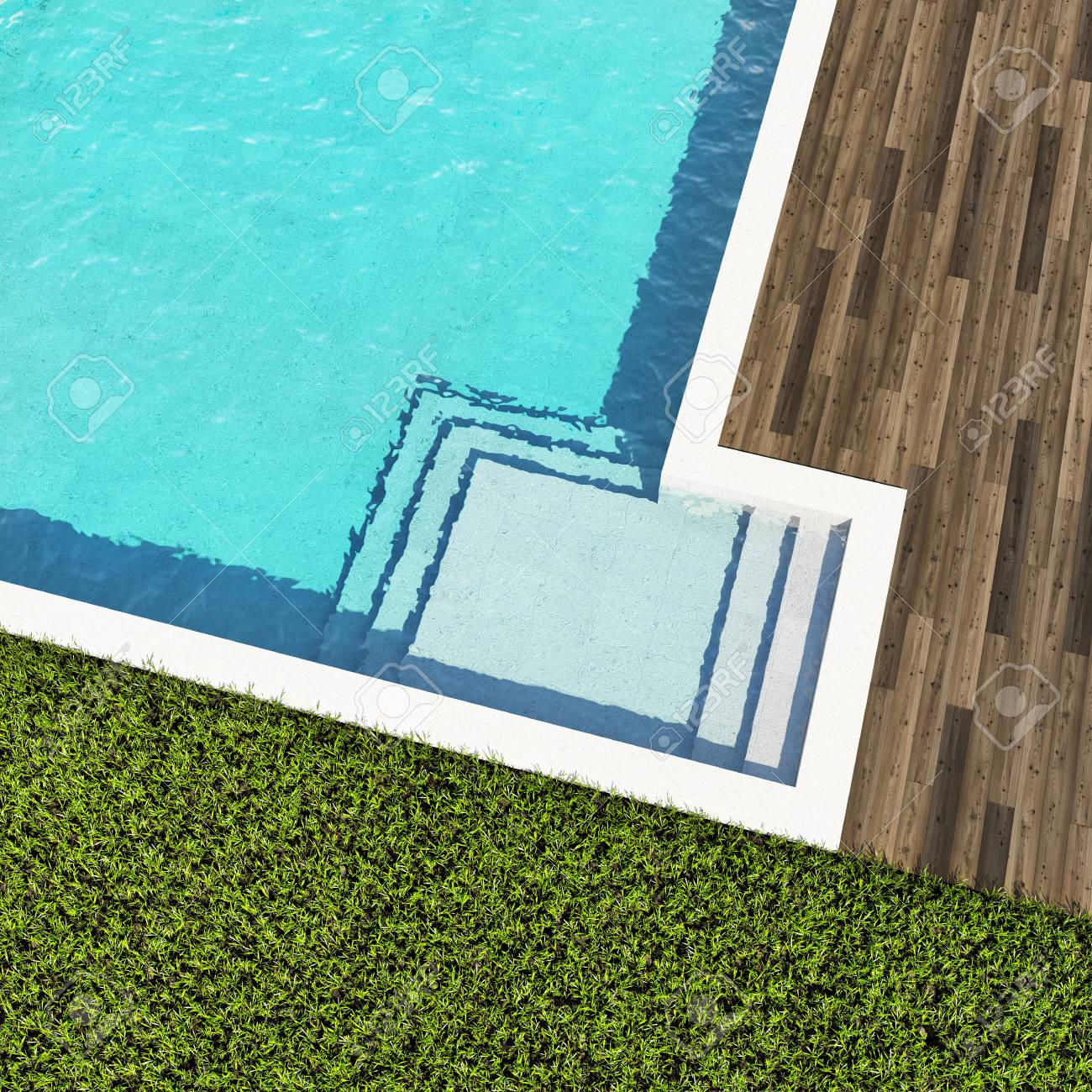 Swimming Pool With Wooden Deck Top View 3d Illustration Stock Photo Picture And Royalty Free Image Image 103237703