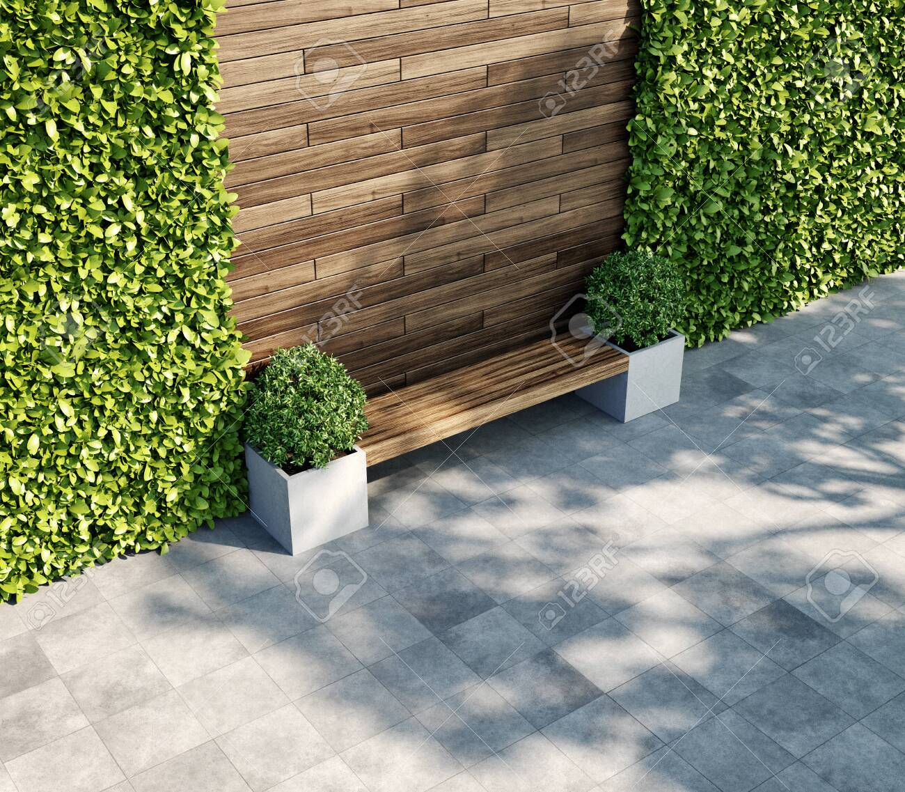 Heavy Duty Counter Stools, Decorative Wooden Wall With Vertical Green Garden Bench In Shade Stock Photo Picture And Royalty Free Image Image 137221576