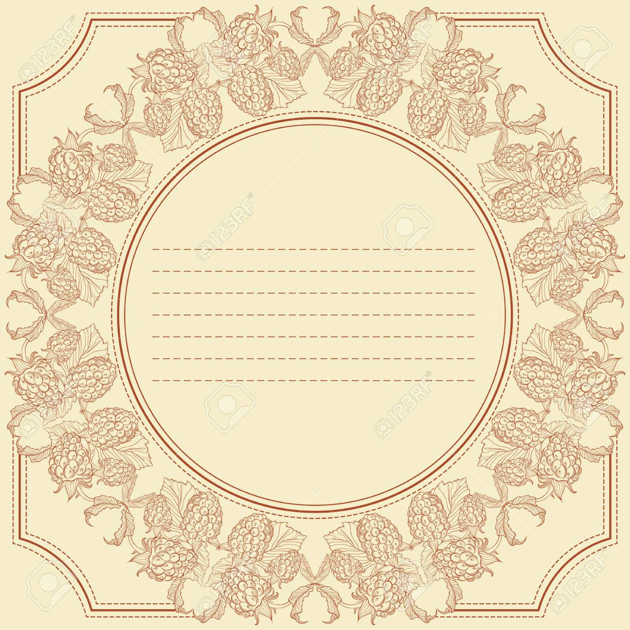 Vector Vintage Frame Card With Raspberries Design For Notebook