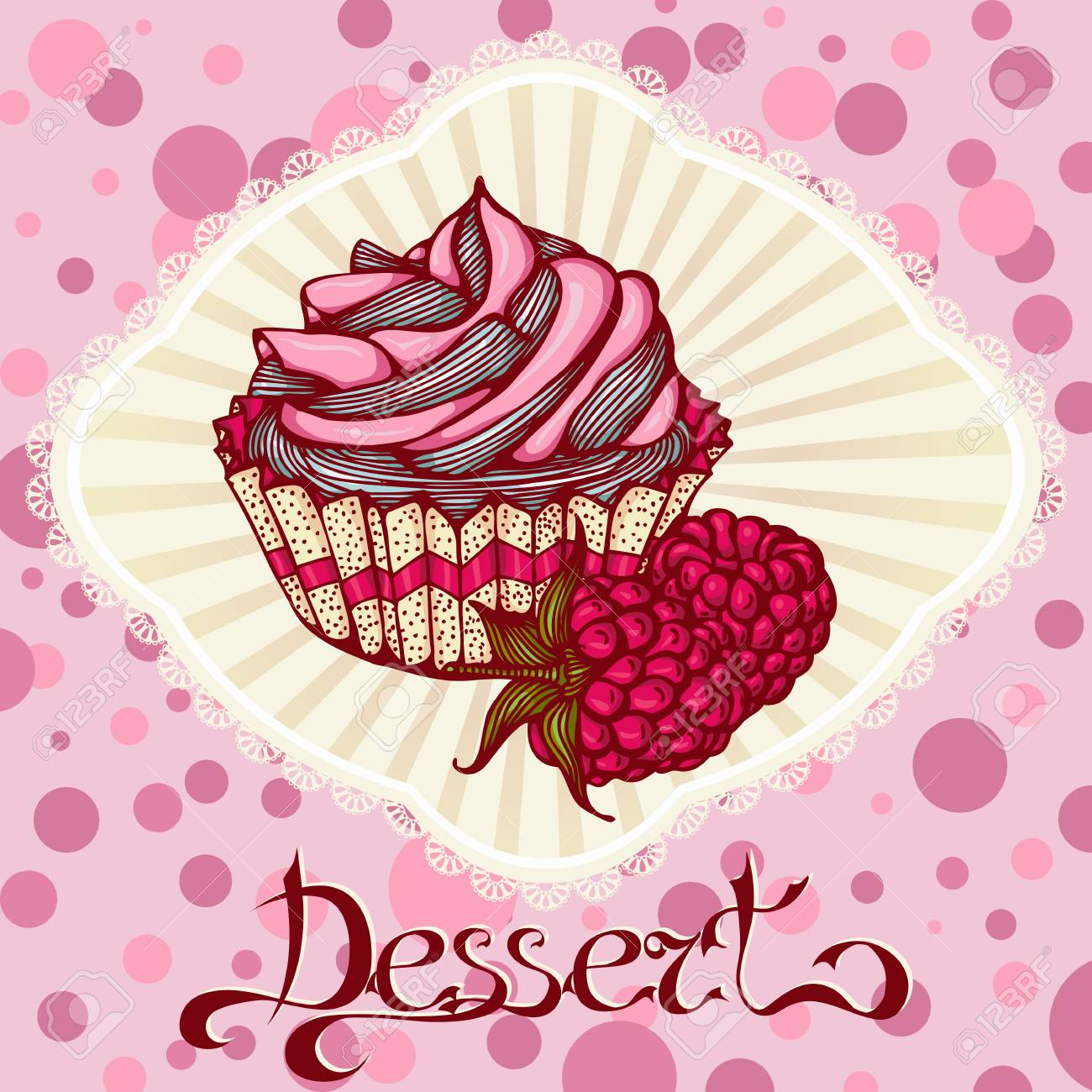 Color Graphic Card With Cupcake And Raspberries Design For Menu