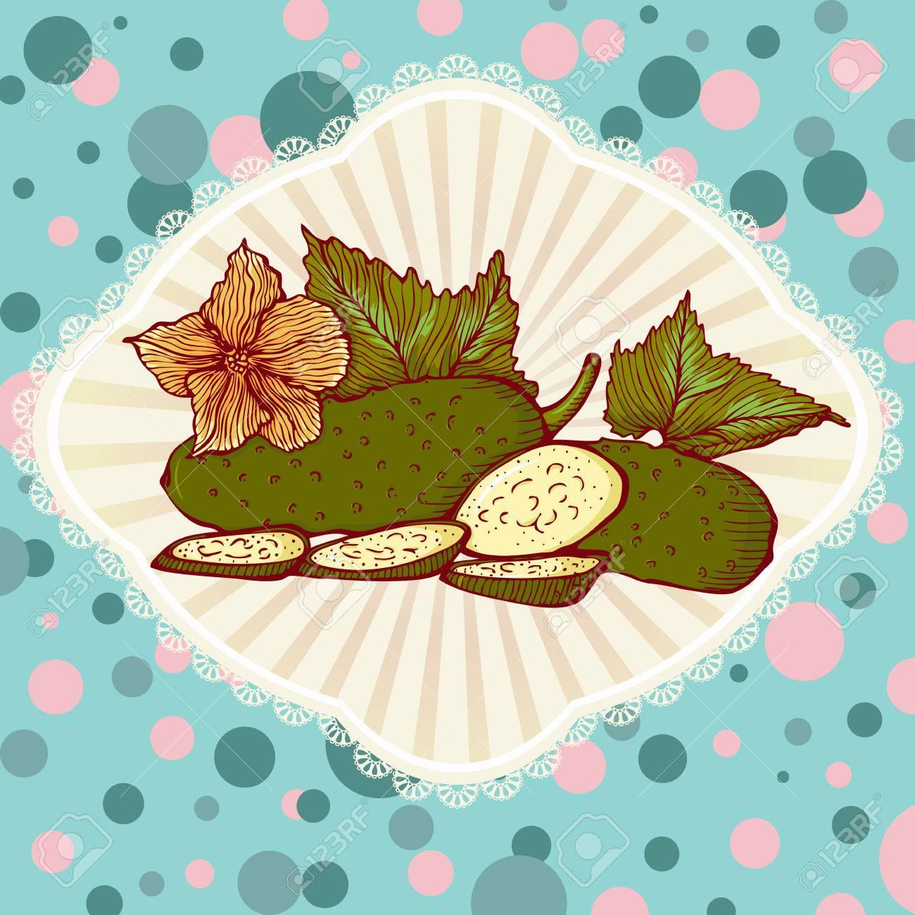 Pepinos Verdes Frescas Con Las Hojas. Ilustración De Estilo Retro ...