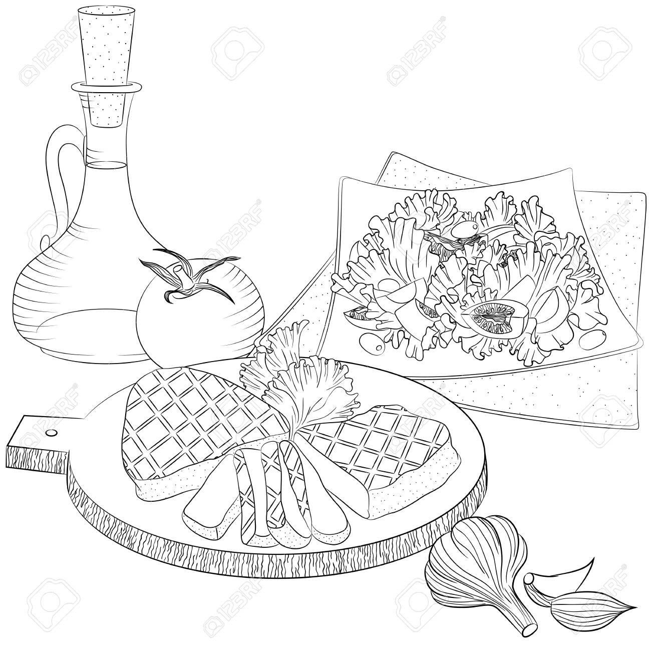 Ilustración De Vector Línea Arte Con Alimentos Bodegón Con Carne Aceite De Oliva Y Ensalada Ilustración Para El Menú Libro De Cocina O Libro Para