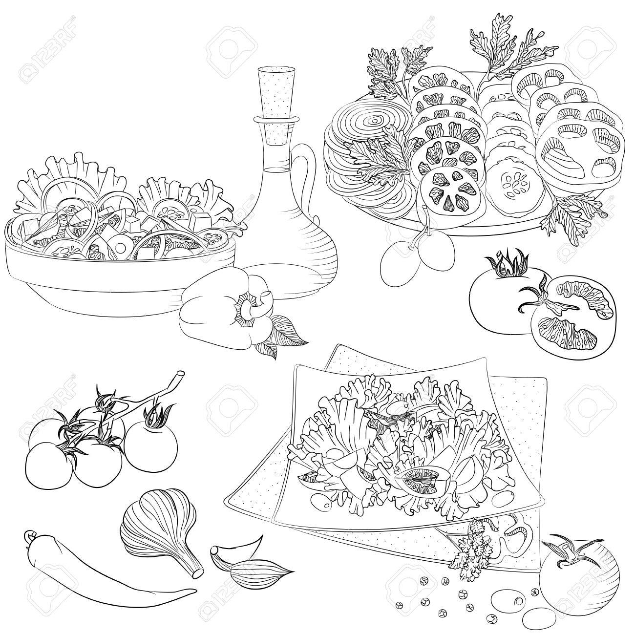 Ilustración De Arte De Línea De Vector Con Comida Conjunto Con Varias Ensaladas De Verduras Ilustración Para El Menú Libro De Cocina O Libro Para