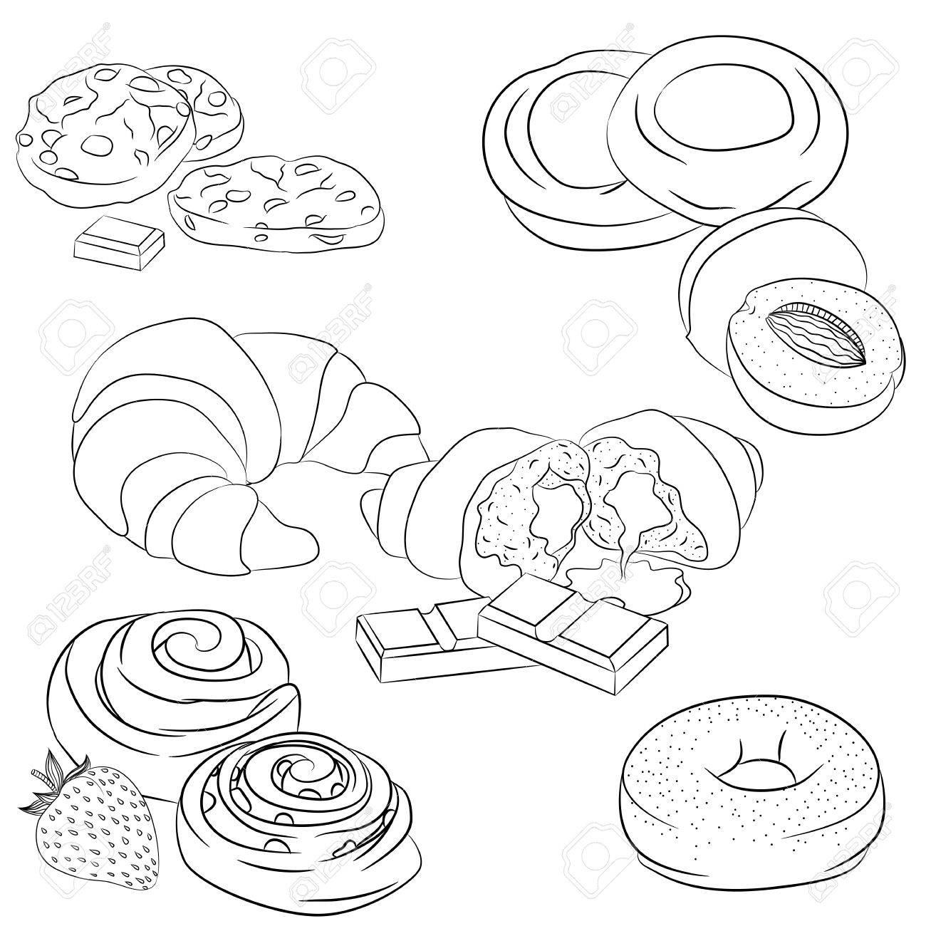 食物と一緒にベクトル ライン アート イラスト様々 なパンを設定します