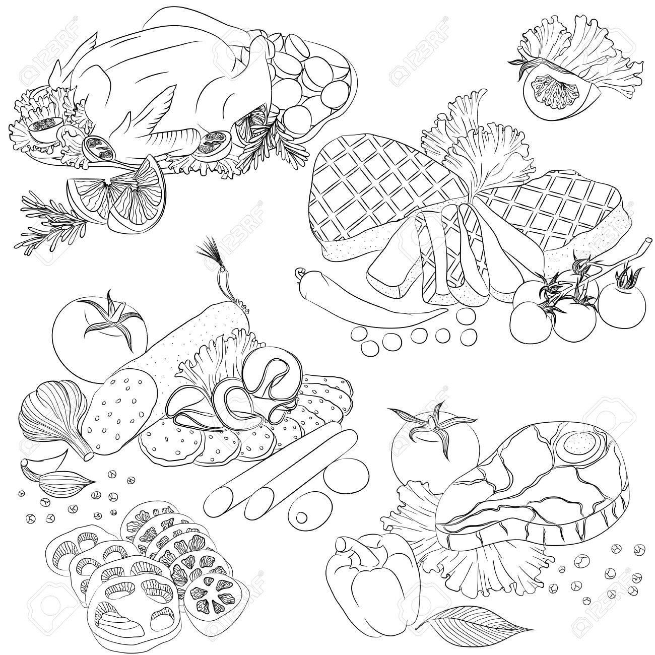 Ilustración Vectorial Línea De Arte Con Los Alimentos. Set Con ...