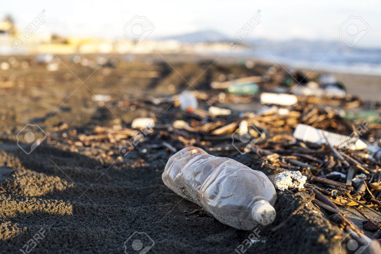 pollution, plastic water bottle on a beach - 27415037