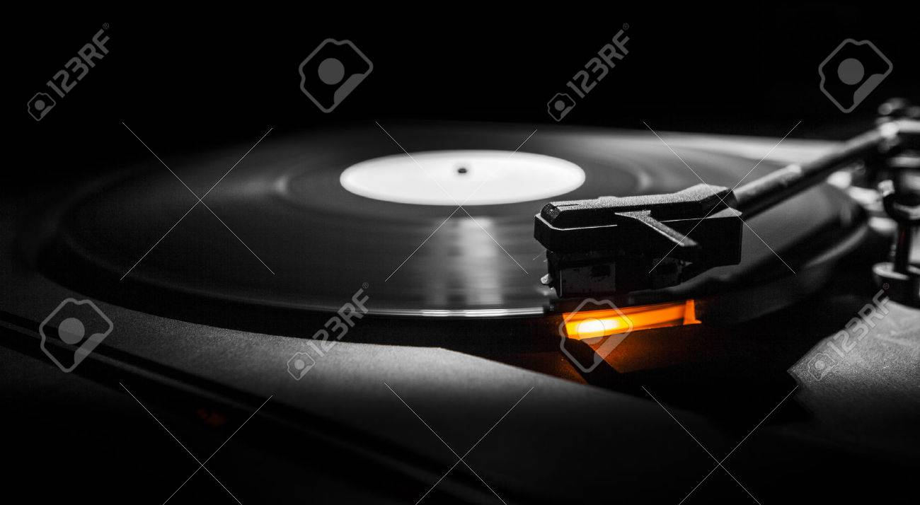 old style turntable with needle - b w and orange light - 27415554