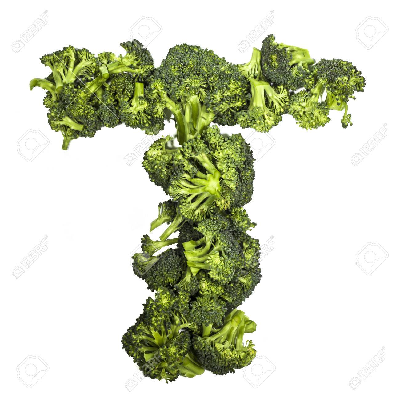 Broccoli letter T on white background, high contrast - 27995154