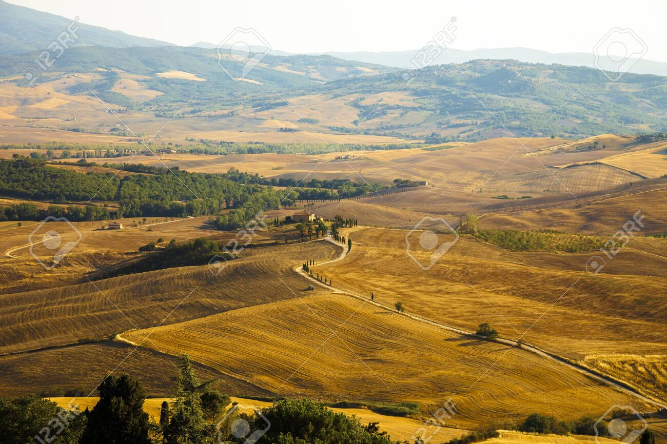 Typical Tuscan landscape at sunset in Val d? ? ? Orcia - 131748923