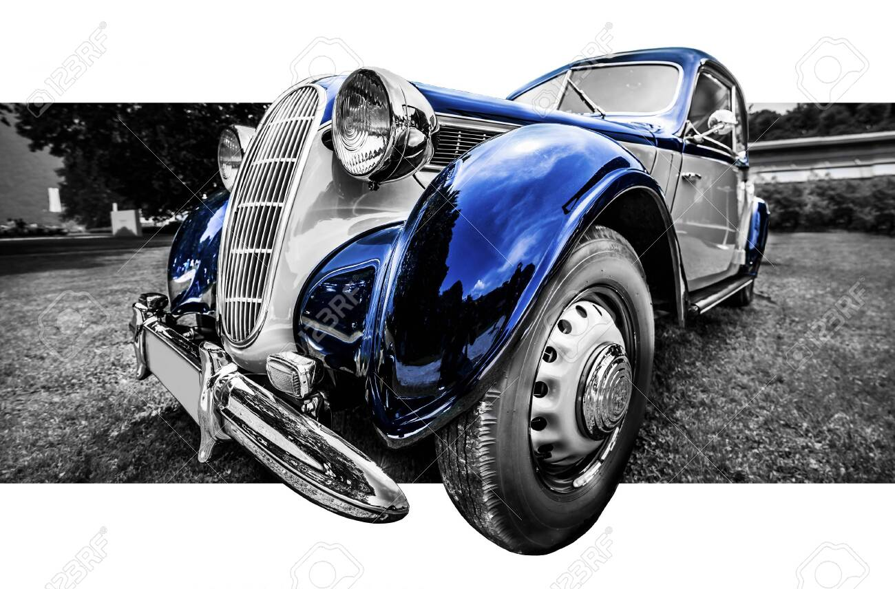 Old classic blue and grey car in a black and white image - 147175897