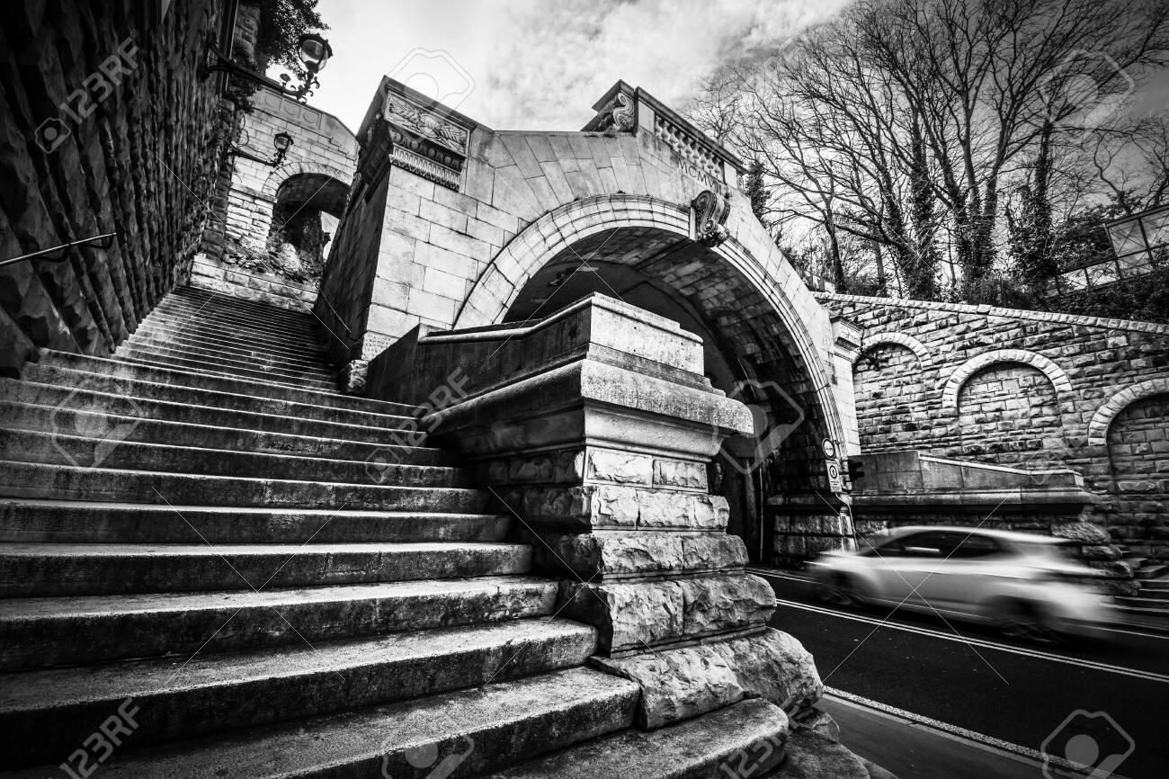 Trieste, Italy, December 30, 2018 - Black and white photo of the Scala dei Giganti - 146912340